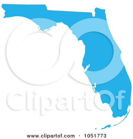 Royalty-Free Vector Clip Art Illustration of a Blue Silhouetted Shape Of The State Of Florida, United States by Jamers