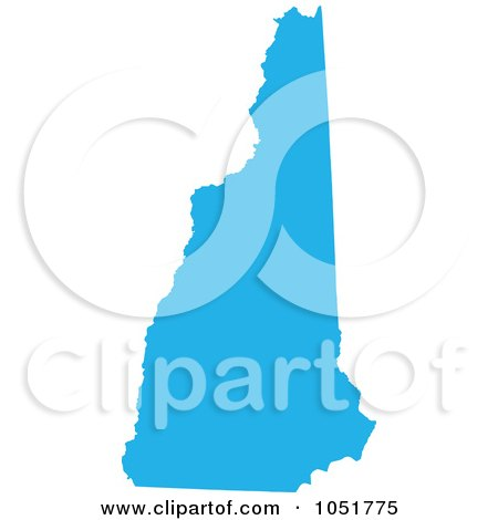 Royalty-Free Vector Clip Art Illustration of a Blue Silhouetted Shape Of The State Of New Hampshire, United States by Jamers