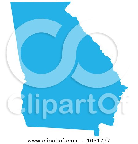 Royalty-Free Vector Clip Art Illustration of a Blue Silhouetted Shape Of The State Of Georgia, United States by Jamers