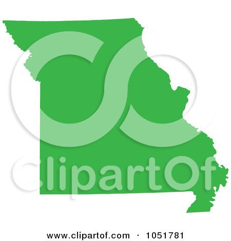 Royalty-Free Vector Clip Art Illustration of a Green Silhouetted Shape Of The State Of Missouri, United States by Jamers