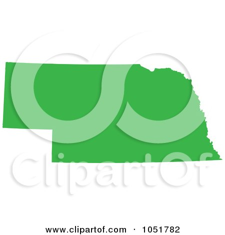 Royalty-Free Vector Clip Art Illustration of a Green Silhouetted Shape Of The State Of Nebraska, United States by Jamers
