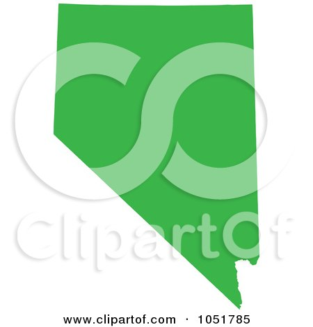 Royalty-Free Vector Clip Art Illustration of a Green Silhouetted Shape Of The State Of Nevada, United States by Jamers