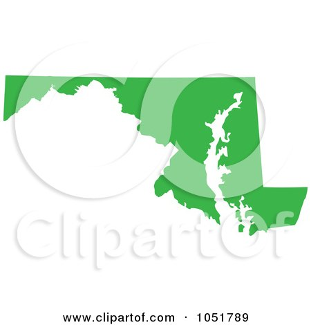 Royalty-Free Vector Clip Art Illustration of a Green Silhouetted Shape Of The State Of Maryland, United States by Jamers