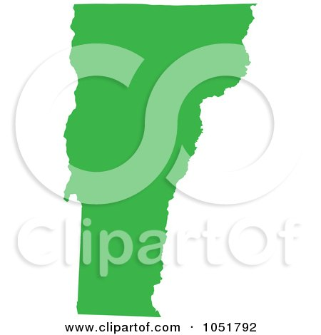 Royalty-Free Vector Clip Art Illustration of a Green Silhouetted Shape Of The State Of Vermont, United States by Jamers