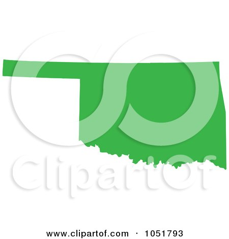 Royalty-Free Vector Clip Art Illustration of a Green Silhouetted Shape Of The State Of Oklahoma, United States by Jamers