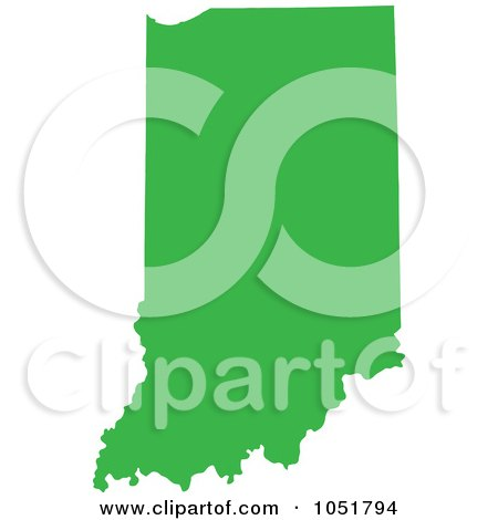 Royalty-Free Vector Clip Art Illustration of a Green Silhouetted Shape Of The State Of Indiana, United States by Jamers