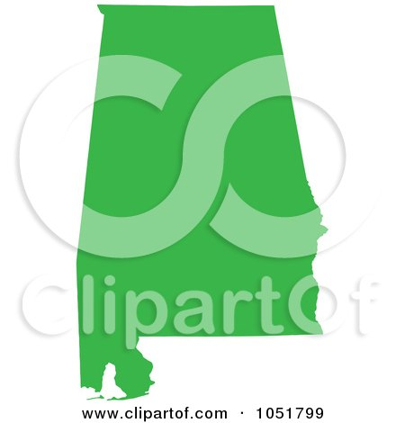 Royalty-Free Vector Clip Art Illustration of a Green Silhouetted Shape Of The State Of Alabama, United States by Jamers
