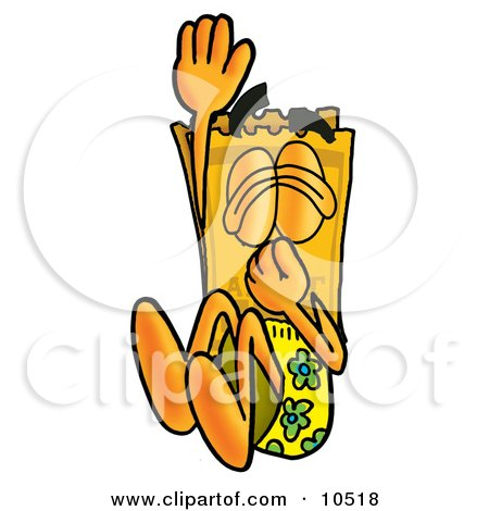 Clipart Picture of a Yellow Admission Ticket Mascot Cartoon Character Plugging His Nose While Jumping Into Water by Toons4Biz