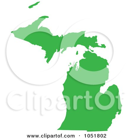 Royalty-Free Vector Clip Art Illustration of a Green Silhouetted Shape Of The State Of Michigan, United States by Jamers
