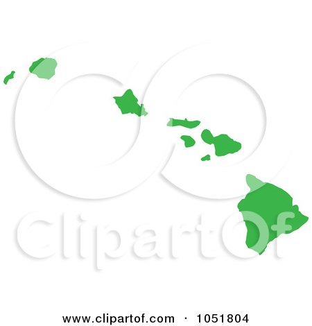 Royalty-Free Vector Clip Art Illustration of a Green Silhouetted Shape Of The State Of Hawaii, United States by Jamers