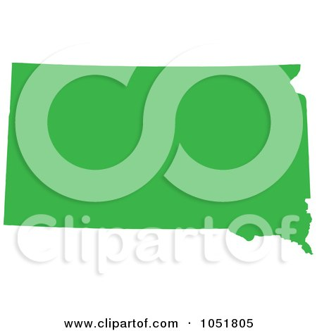 Royalty-Free Vector Clip Art Illustration of a Green Silhouetted Shape Of The State Of South Dakota, United States by Jamers