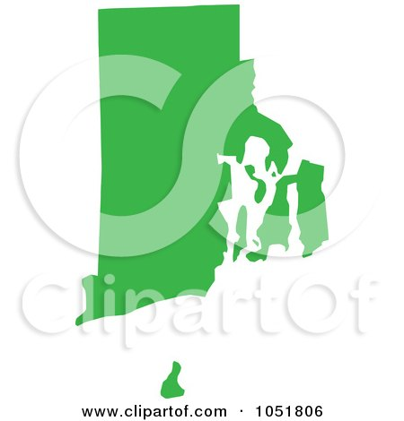 Royalty-Free Vector Clip Art Illustration of a Green Silhouetted Shape Of The State Of Rhode Island, United States by Jamers