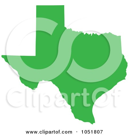 Royalty-Free Vector Clip Art Illustration of a Green Silhouetted Shape Of The State Of Texas, United States by Jamers