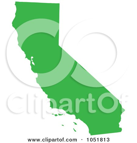 Royalty-Free Vector Clip Art Illustration of a Green Silhouetted Shape Of The State Of California, United States by Jamers
