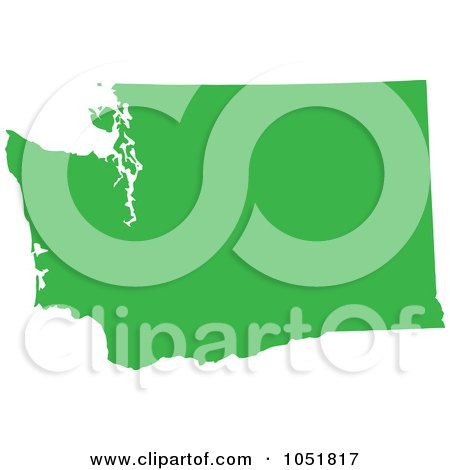 Royalty-Free Vector Clip Art Illustration of a Green Silhouetted Shape Of The State Of Washington, United States by Jamers