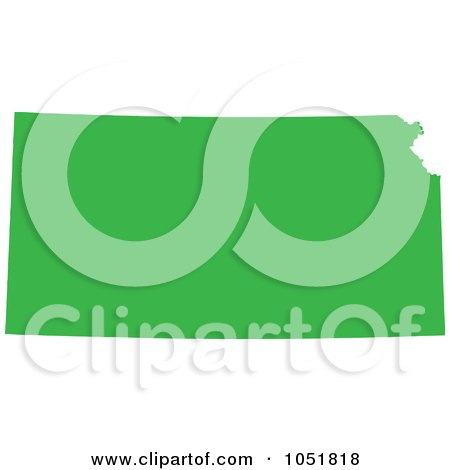 Royalty-Free Vector Clip Art Illustration of a Green Silhouetted Shape Of The State Of Kansas, United States by Jamers