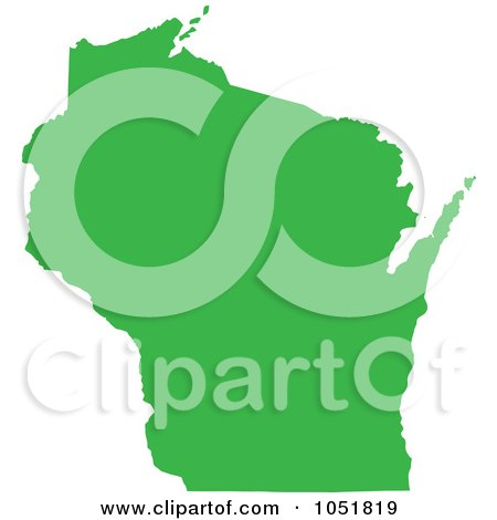 Royalty-Free Vector Clip Art Illustration of a Green Silhouetted Shape Of The State Of Wisconsin, United States by Jamers
