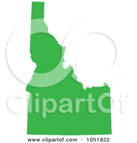 Royalty-Free Vector Clip Art Illustration of a Green Silhouetted Shape Of The State Of Idaho, United States by Jamers