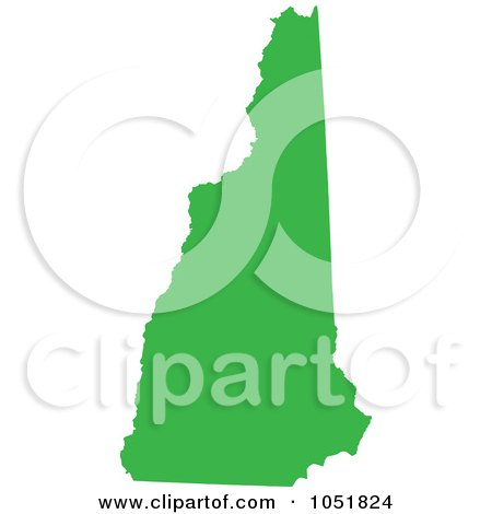 Royalty-Free Vector Clip Art Illustration of a Green Silhouetted Shape Of The State Of New Hampshire, United States by Jamers
