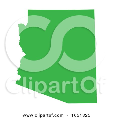 Royalty-Free Vector Clip Art Illustration of a Green Silhouetted Shape Of The State Of Arizona, United States by Jamers