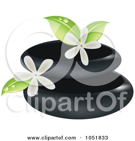 Royalty-Free Vector Clip Art Illustration of a Spa Stones And Jasmine Logo by Eugene