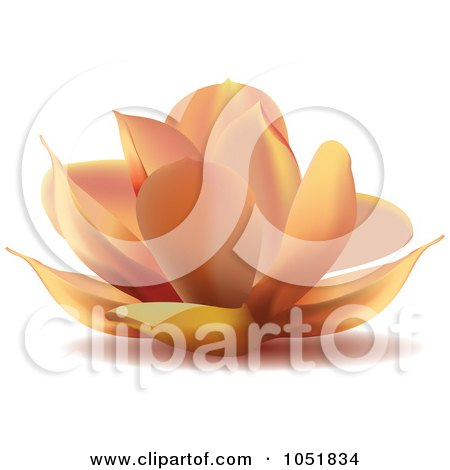 Royalty-Free Vector Clip Art Illustration of a Peach Water Lily Lotus Logo by Eugene