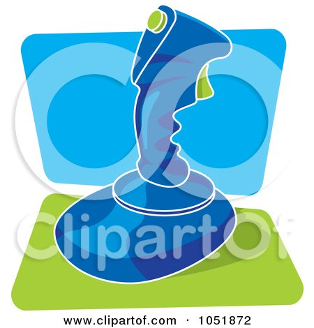 Royalty-Free Vector Clip Art Illustration of a Blue Retro Video Game Joystick by Any Vector
