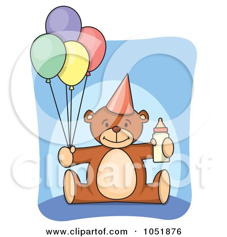 Royalty-Free Vector Clip Art Illustration of a First Birthday Teddy Bear With A Bottle And Party Balloons by Any Vector