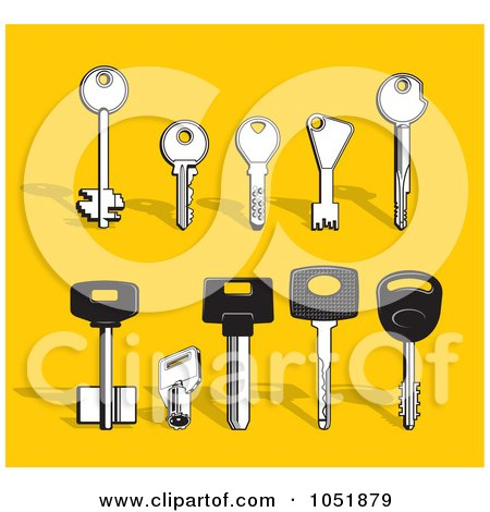 Royalty-Free Vector Clip Art Illustration of a Digital Collage Of Various Types Of Keys by Any Vector