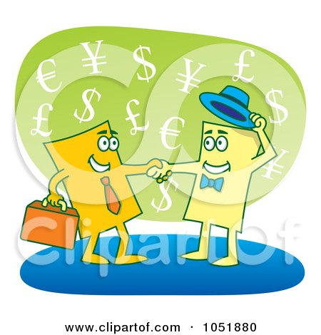 Royalty-Free Vector Clip Art Illustration of Two Business Cards Shaking Hands by Any Vector