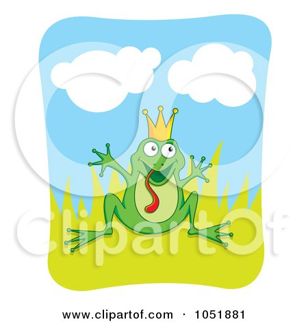 Royalty-Free Vector Clip Art Illustration of a Silly Frog Prince In Grass by Any Vector