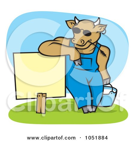 Royalty-Free Vector Clip Art Illustration of a Cow Wearing Shades And Leaning On A Blank Sign With A Pail Of Milk by Any Vector