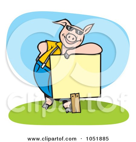 Royalty-Free Vector Clip Art Illustration of a Pig Wearing Shades And Leaning On A Blank Sign by Any Vector