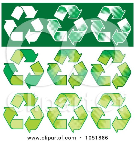 Royalty-Free Vector Clip Art Illustration of a Digital Collage Of Nine Recycle Symbols by Any Vector