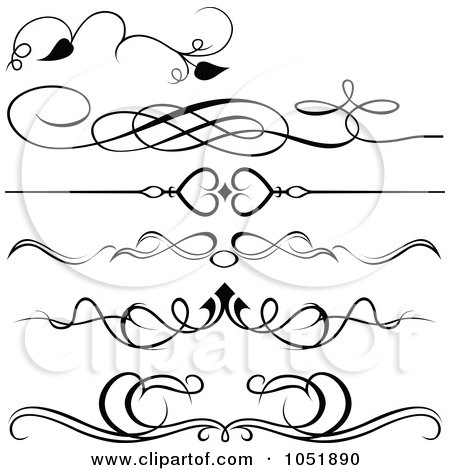 Royalty-Free Vector Clip Art Illustration of a Digital Collage Of Black And White Ornate Rules And Borders by dero