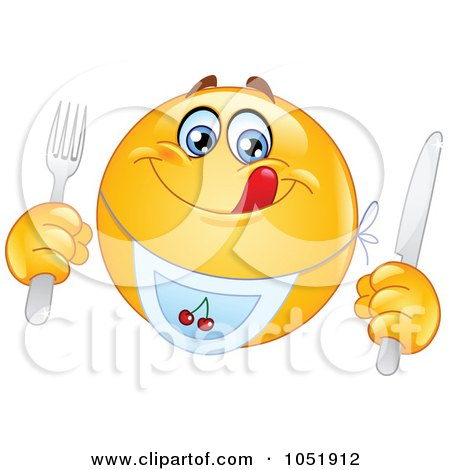 Royalty-Free Vector Clip Art Illustration of a Hungry Emoticon Wearing A Bib by yayayoyo