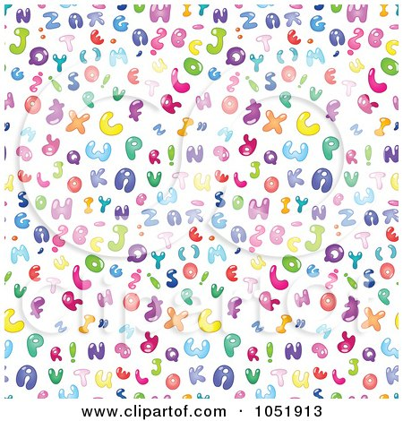 Royalty-Free Vector Clip Art Illustration of a Background Pattern Of Colorful Bubble Letters On White by yayayoyo
