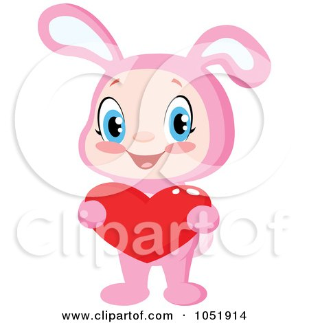Royalty-Free Vector Clip Art Illustration of a Kid In A Pink Bunny Suit, Holding A Valentine Heart by yayayoyo