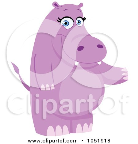 Royalty-Free Vector Clip Art Illustration of a Purple Hippo Standing And Presenting by yayayoyo