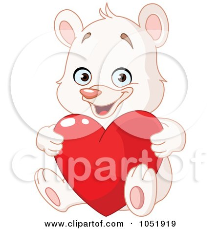Royalty-Free Vector Clip Art Illustration of a White Teddy Bear Holding A Valentine Heart by yayayoyo