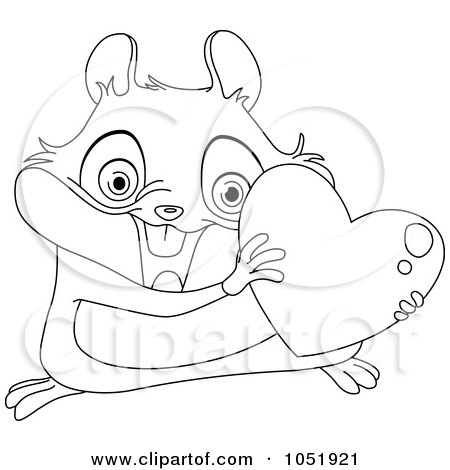 Royalty-Free Vector Clip Art Illustration of an Outlined Valentine Hamster With A Heart by yayayoyo