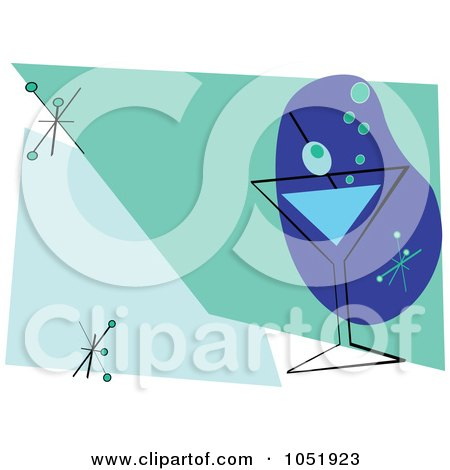 Royalty-Free Vector Clip Art Illustration of a Blue And Green Martini Invitation Design by peachidesigns