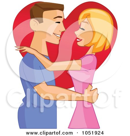 Royalty-Free Vector Clip Art Illustration of a Valentine Couple Embracing And Gazing Over A Heart by peachidesigns