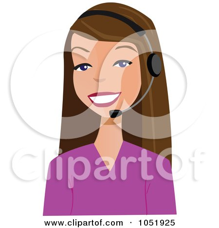 Royalty-Free Vector Clip Art Illustration of a Pretty Brunette Customer Service Agent Wearing A Headset by peachidesigns