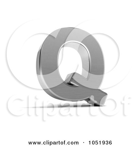 Royalty-Free 3d Clip Art Illustration of a 3d Chrome Alphabet Symbol; Letter Q by stockillustrations