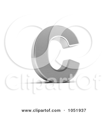 Royalty-Free 3d Clip Art Illustration of a 3d Chrome Alphabet Symbol; Letter C by stockillustrations