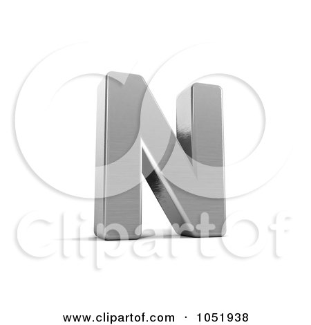 Royalty-Free 3d Clip Art Illustration of a 3d Chrome Alphabet Symbol; Letter N by stockillustrations