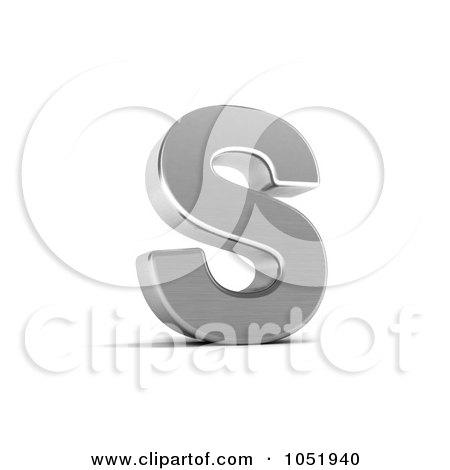 Royalty-Free 3d Clip Art Illustration of a 3d Chrome Alphabet Symbol; Letter S by stockillustrations