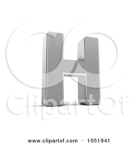 Royalty-Free 3d Clip Art Illustration of a 3d Chrome Alphabet Symbol; Letter H by stockillustrations