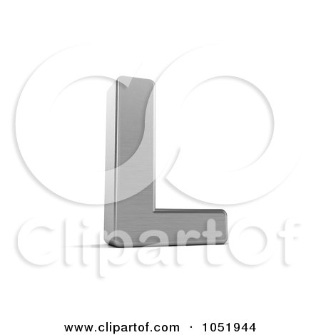 Royalty-Free 3d Clip Art Illustration of a 3d Chrome Alphabet Symbol; Letter L by stockillustrations